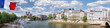 canvas print picture Panorama with Notre Dame cathedral and boat on Seine in Paris, France