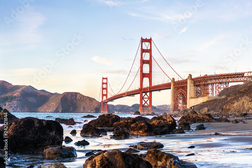 Wall mural Marshal's beach view point on Golden gate bridge, San Francisco, California.