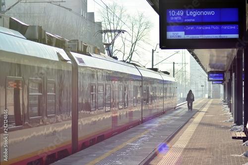 City train in rail station.