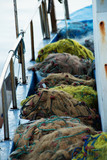 Fishing tackle (nets and ropes). Selective sharpness, shallow depth of field. - 242126417