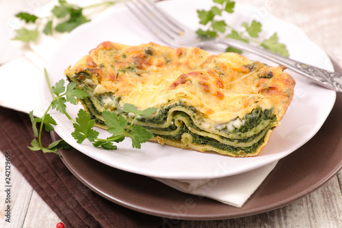 spinach and feta cheese lasagne - 242129656