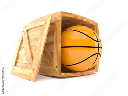 Basketball ball inside wooden crate
