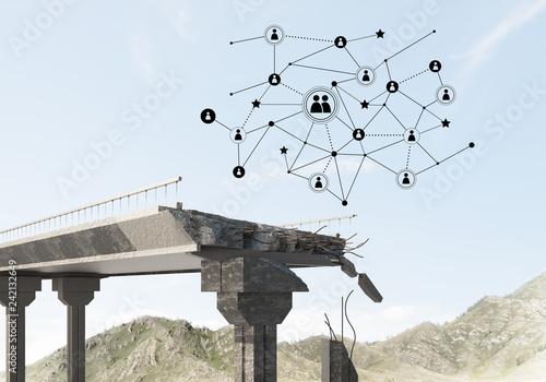 Damaged stone bridge as idea for problem and social connection concept - 242132649