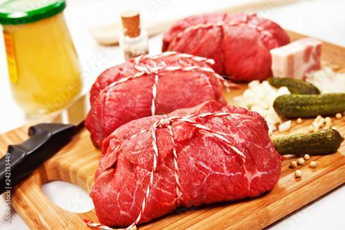 Leinwandbild Motiv Rinderrouladen   Beef Roulades