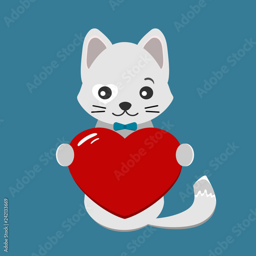 fototapeta na ścianę Valentines day card with cute, gray cat and red heart on blue background. Vector illustration for greeting card or poster.