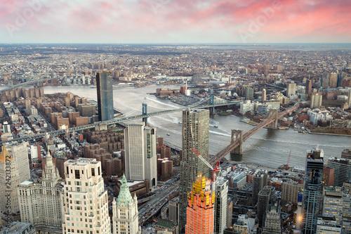 Leinwanddruck Bild Brooklyn, Manhattan and Williamsburg Bridge at sunset, amazing aerial view of New York City - USA