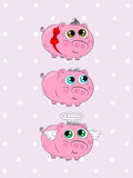 Cute piggy set. Three pink cartoon pigs on pink background with bow and wings. Beautiful characters for your design.