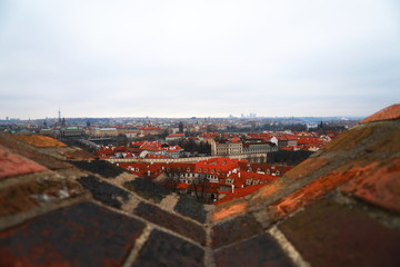 Prague view from top with red roofs