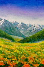 "Постер, картина, фотообои ""Original oil painting on canvas. Flower meadow in the mountains illustration - a beautiful flowers field landscape. Modern artwork art."""