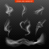 Steam smoke realistic set with hart and swirl shaped white on dark transparent background isolated vector illustration.
