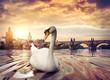 Leinwanddruck Bild - Swan near Charles Bridge