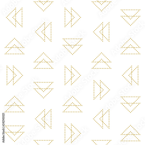 obraz lub plakat Dashed line triangles. Minimalistic seamless geometric vector pattern in gold
