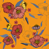 Vintage background. Wallpaper. Blooming realistic isolated flowers. Hand drawn. Vector illustration.Blossom floral seamless pattern. - 242145269