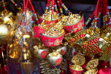 old chinese money  knot  , painted as fishes and  pig knot sell in the markets for chinese new year 2019, selective focus. - 242148272