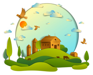 Scenic landscape of farm buildings among meadows trees and birds in the sky, vector illustration of summer time relaxing nature in paper cut style. Countryside beautiful ranch.