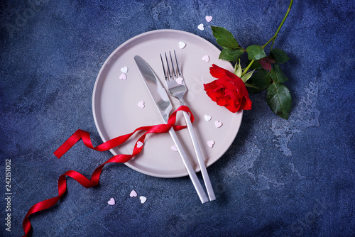 Romantic dinner concept with rose and heart love symbols, saint vlentine day dinner invitation