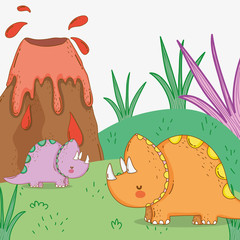 cute triceratops couple wildlife with volcano