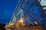 Loschwitz Bridge (Loschwitzer Brucke) over the river Elbe in Dresden at night, Germany.