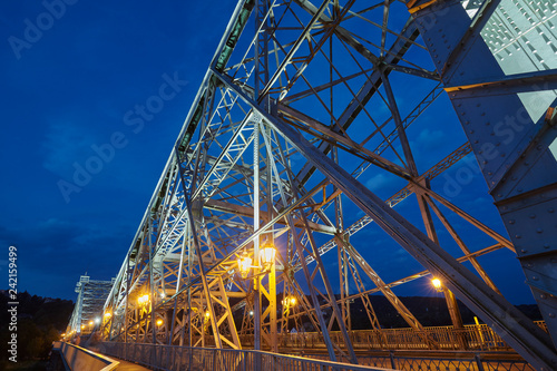 Loschwitz Bridge (Loschwitzer Brucke) over the river Elbe in Dresden at night, Germany.