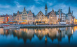 Leinwanddruck Bild - Twilight panorama of Ghent, Flanders, Belgium