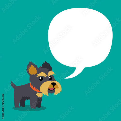 Vector cartoon character yorkshire terrier dog with white speech bubble for design. - 242163285
