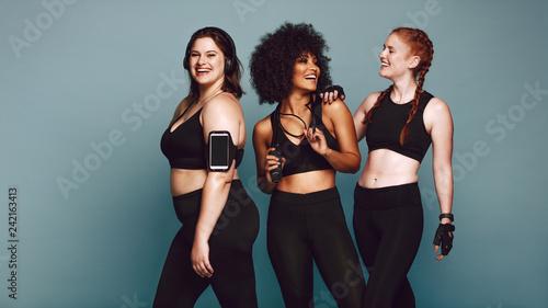 Diverse group women in sportswear after workout - 242163413