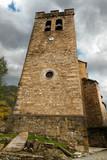 Torre de la iglesia con reloj y campanas en Broto. Huesca. Aragon. España. Europa - 242164011