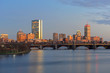 Leinwandbild Motiv Boston John Hancock Tower, Prudential Center and Back Bay Skyline at twilight, viewed from Cambridge, Boston, Massachusetts, USA.