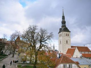 Retro vintage architecture famous spot landscape Historic Centre Old Town of Tallinn, Estonia