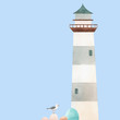 Watercolor lighthouse vector illustration