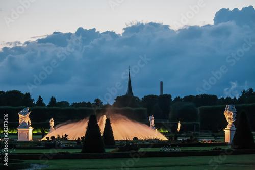 Hannover, Lower Saxony, Germany - June 24, 2011: illuminated fountain in the park Herrenhäuser Garten