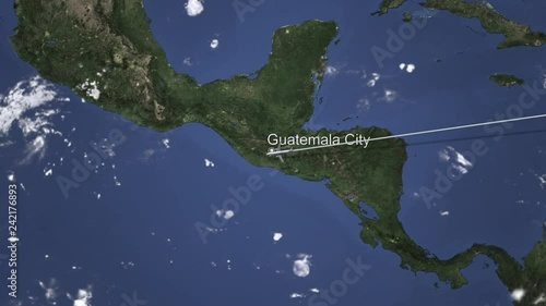 Airplane flying to Guatemala City, Guatemala on the map, 3D animation