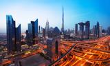 Dubai sunset panoramic view of downtown