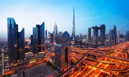 Dubai sunset panoramic view of downtown - 242177281
