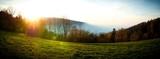 Sunset autumn panorama