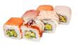 close up of sashimi sushi set, roll on white plate