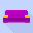 Violet sofa icon. Flat illustration of violet sofa vector icon for web design