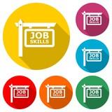 Job Skills sign or logo, color set with long shadow - 242189276