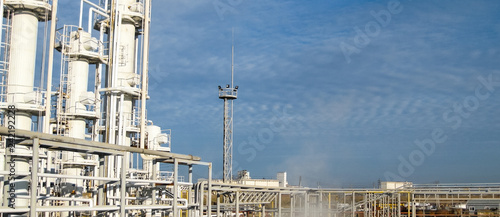 Leinwanddruck Bild Oil refinery. Equipment for primary oil refining