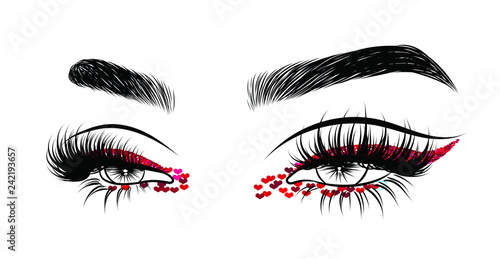 Valentines day glitter makeup . Hand drawn vector idea for business visit cards, templates,