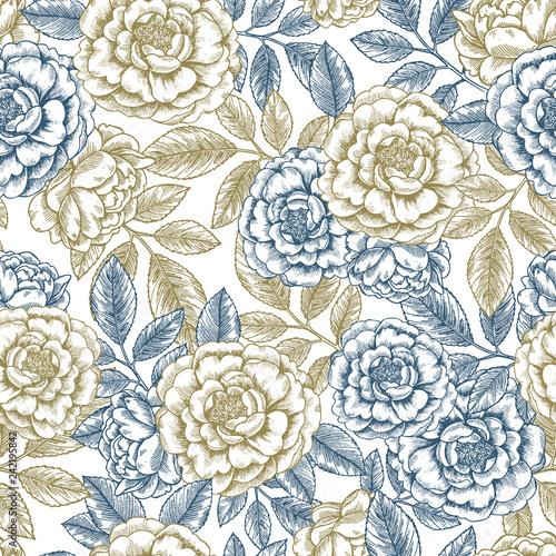Hand Sketched Floral Seamless Pattern - 242195842