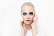 Leinwanddruck Bild - female model with dark make-up