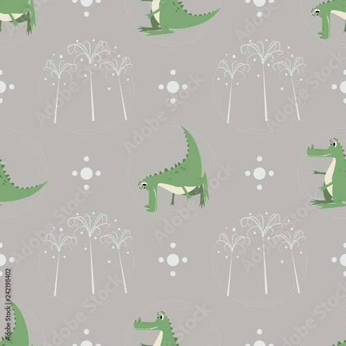 mata magnetyczna Seamless pattern funny cartoon crocodile palm trees on nature