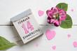 Leinwandbild Motiv Abreißkalender mit Valentinstag 2019 auf Holzhintergrund