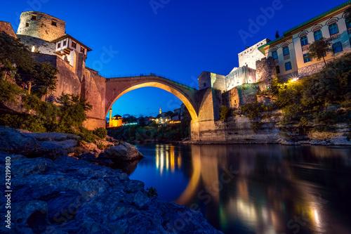 Foto Murales Stari Most Brücke in der Altstadt von Mostar, Bosnien