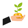 hand holding plant coins money business