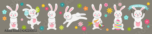 Set of cute Easter cartoon characters rabbits and design elements flowers. Easter bunny and flowers. Vector illustration. - 242200035