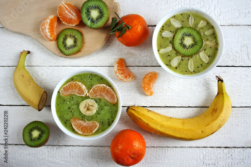 Smoothie bowls with fruit- version for children - 242202218