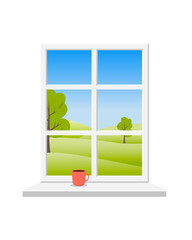 Spring window. View of the green spring landscape from the window with a white frame. On the windowsill is a red Cup with a drink. Vector. © julikul8931