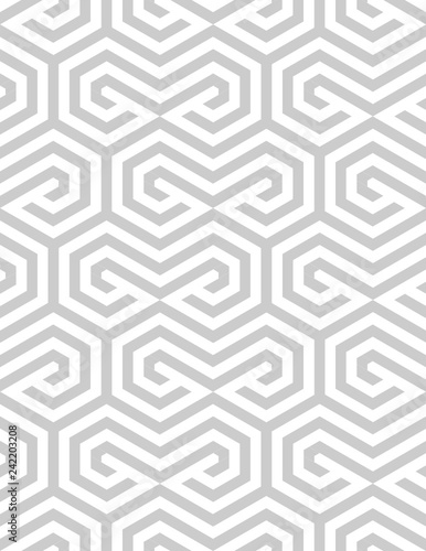 Vector seamless texture. Modern geometric background with hexagonal tiles. - 242203208